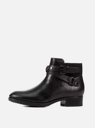 Čierne dámske kožené nepremokavé členkové topánky Geox