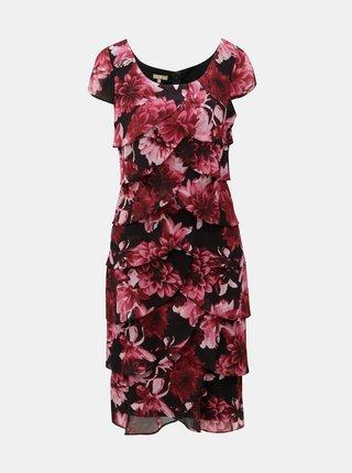 Rochie negru-bordo florala cu volane M&Co