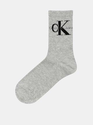 Šedé dámské žíhané ponožky s motivem Calvin Klein Jeans
