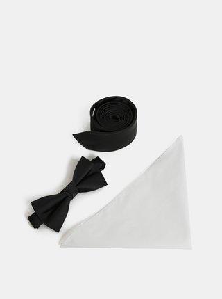 Dárková sada slim kravaty, motýlka a kapesníčku v černé a bílé barvě Jack & Jones Necktie