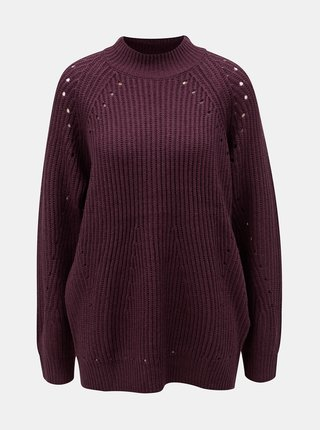 Pulover bordo lejer cu model perforat VERO MODA Jay