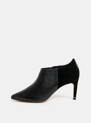 Čierne kožené členkové topánky so semišovými detailmi Ted Baker Akasha