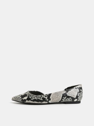 Krémovo–čierne vzorované baleríny ALDO Gloacia