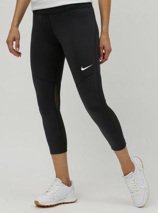 Čierne dámske legíny s priesvitnými detailmi Nike Fly Victory