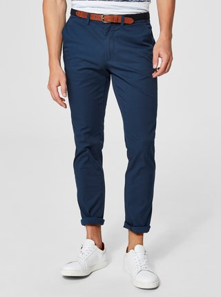 Pantaloni chino albastri slim fit cu cordon Selected Homme