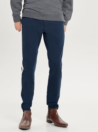 Pantaloni albastru inchis cu dungi laterale ONLY & SONS Mark Stripe
