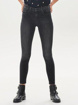 Černé push up skinny džíny s vyšisovaným efektem ONLY Piti