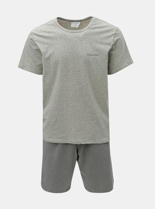 Sivé pánske dvojdielne pyžamo s úschovným vreckom Calvin Klein Underwear