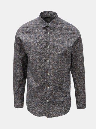 Bielo–modrá vzorovaná slim fit košeľa Selected Homme Slimflow