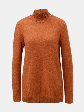 Oranžový svetr s rolákem a korálkovou aplikací VERO MODA Toky