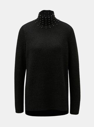 Černý svetr s rolákem a korálkovou aplikací VERO MODA Toky