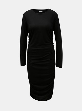 Rochie neagra cu pliuri laterale Jacqueline de Yong Rosa