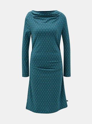 Rochie verde inchis cu motiv frunze si pliuri pe decolteu si pe laturi Tranquillo Durga