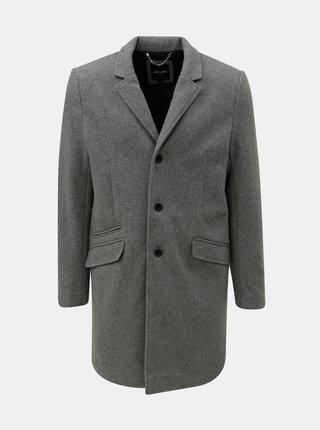 Šedý žíhaný vlněný kabát ONLY & SONS Julian