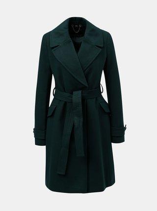 Tmavozelený tenký kabát s opaskom Dorothy Perkins