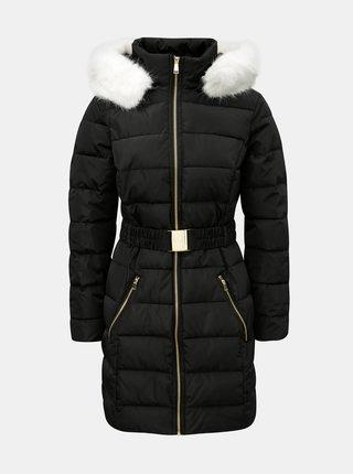 Čierny prešívaný zimný kabát s odnímateľnou umelou kožušinkou Dorothy Perkins