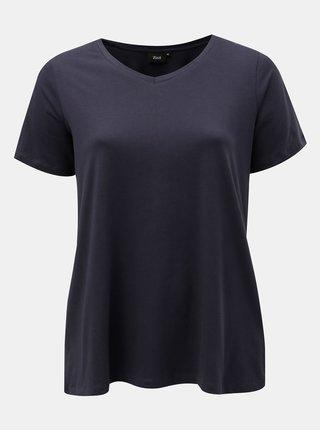 Tmavomodré basic tričko s véčkovým výstrihom Zizzi