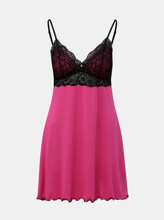 Camasa de noapte roz inchis cu detalii din dantela Eldar Lola