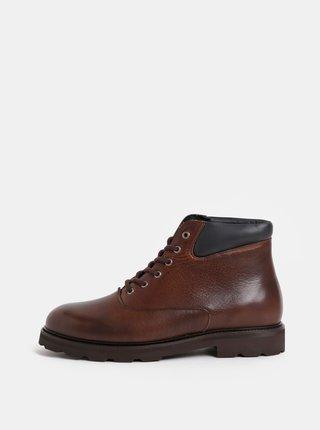 Tmavohnedé pánske kožené členkové topánky Royal RepubliQ