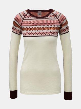 Vínovo-krémové vzorované termo tričko z Merino vlny Kari Traa Løkke