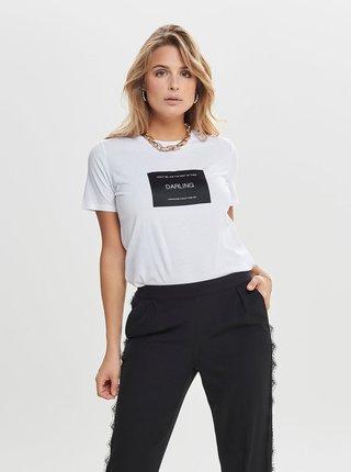 Biele tričko s nášivkou ONLY Lux