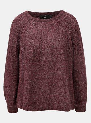 Pulover bordo melanj cu amestec de lana ONLY Hanna