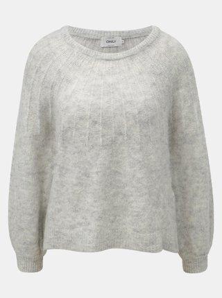 Svetlosivý melírovaný sveter s prímesou vlny ONLY Hanna