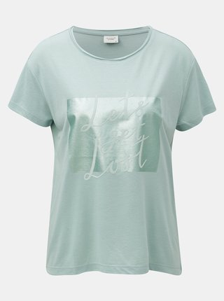 Mentolové tričko s potlačou a semišovým nápisom Jacqueline de Yong Roa