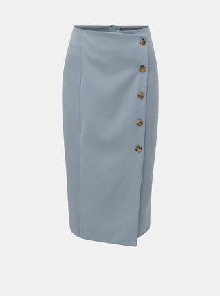 Světle modrá pouzdrová sukně s knoflíky Miss Selfridge
