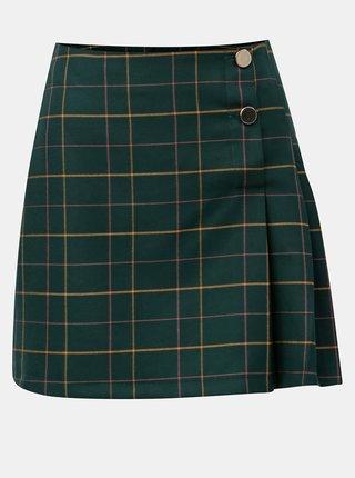 Fusta mini verde inchis in carouri cu nasturi Miss Selfridge