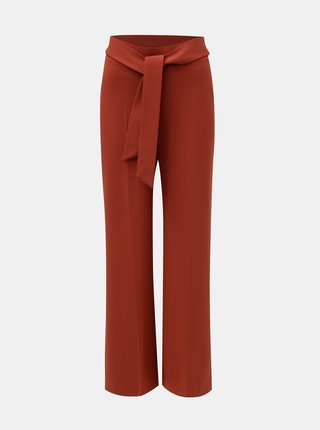 Cihlové volné kalhoty s vysokým pasem a zavazováním Miss Selfridge