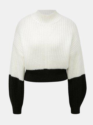 Pulover negru-alb scurt lejer cu guler inalt Miss Selfridge