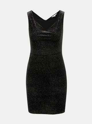 Čierne puzdrové minišaty s trblietavým efektom Miss Selfridge Glitter