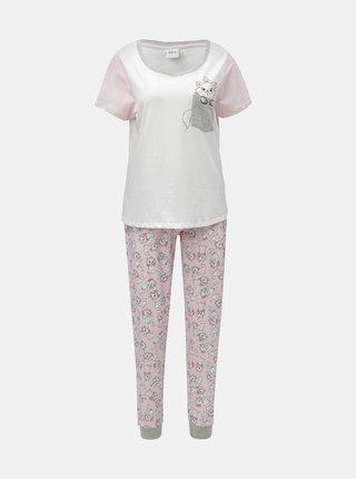 Ružovo–biele dvojdielne pyžamo s motívom mačiek Dorothy Perkins Disney