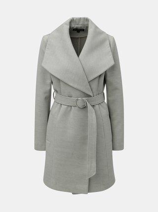 Šedý lehký kabát s páskem Miss Selfridge