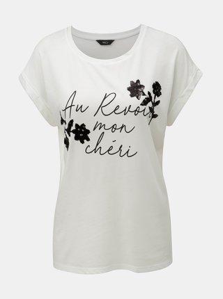 Tricou alb cu paiete si imprimeu M&Co Aurevoir