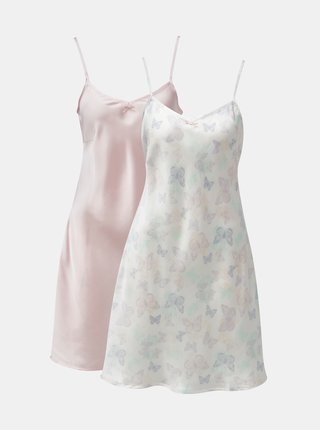 Set de 2 camasa de noapte roz si alb M&Co Butterfly