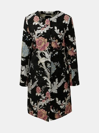 Pardesiu negru floral M&Co Jacquard
