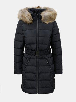Tmavě modrý prošívaný zimní kabát s odnímatelným kožíškem na kapuci Dorothy Perkins