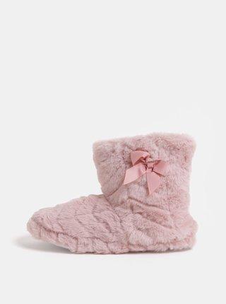 Růžové chlupaté papuče s mašlí Dorothy Perkins
