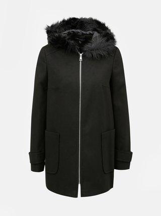 Čierny tenký kabát s kapucňou a umelou kožušinkou Dorothy Perkins
