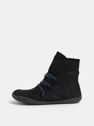 Černé dámské kožené kotníkové zimní boty s vnitřním umělým kožíškem Camper Cami Hell