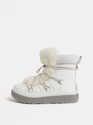 Cizme albe impermeabile de iarna din piele cu blana artificiala UGG Highland