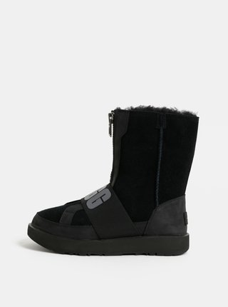 Cizme negre impermeabile de iarna din piele intoarsa cu blana interioara UGG Conness