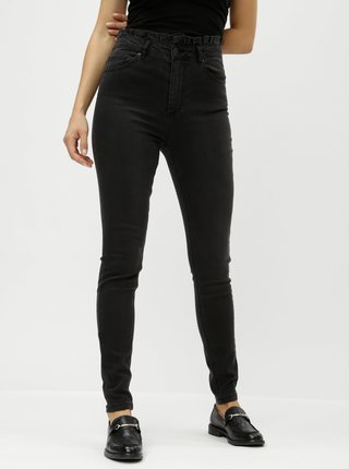 Černé slim džíny s vysokým pasem a řasením VERO MODA Cloud