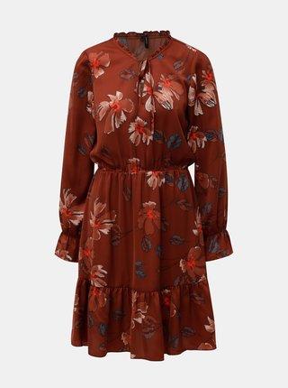 Hnedé kvetované šaty s volánmi VERO MODA Isla
