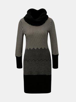 Rochie gri-negru tricotata cu model si guler Smashed Lemon