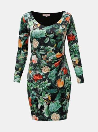 Rochie oranj-verde florala cu pliuri laterale La Lemon