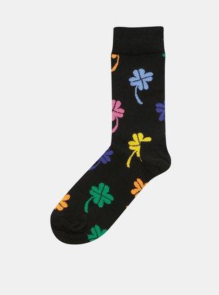 Sosete negre de dama cu motiv trifoi cu patru foi Happy Socks Big Luck Sock