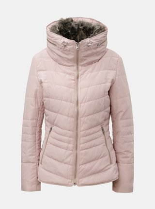 Svetloružová dámska zimná bunda s odnímateľnou umelou kožušinkou v golieri QS by s.Oliver
